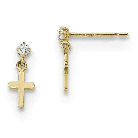 14k Madi K Childrens CZ Cross Post Dangle Earrings SE2545 (0.41 grams 11MM x 4.7MM)