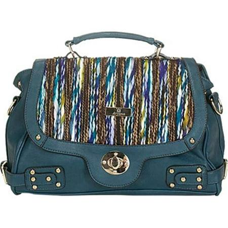 Aryana Adi 14 Bl Blue Multi Color Crossbody Strap Hardware Accent Womens Handbag