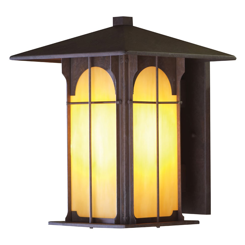 Aztec 1-light 14.1-inch Olde Brick Honey Opal Glass Outdoor Wall Light