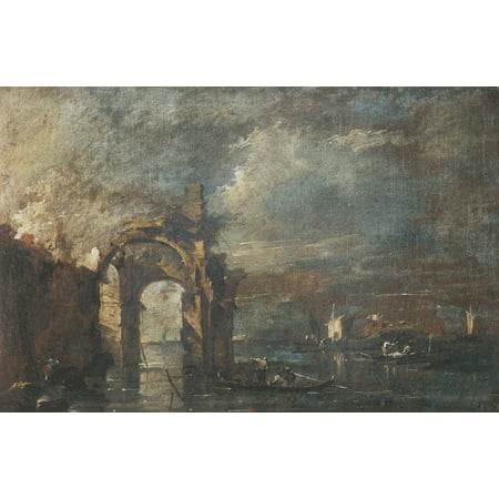 Framed Art for Your Wall Guardi, Francesco - Lagoon Capriccio with crumbled archway 10 x 13 Frame