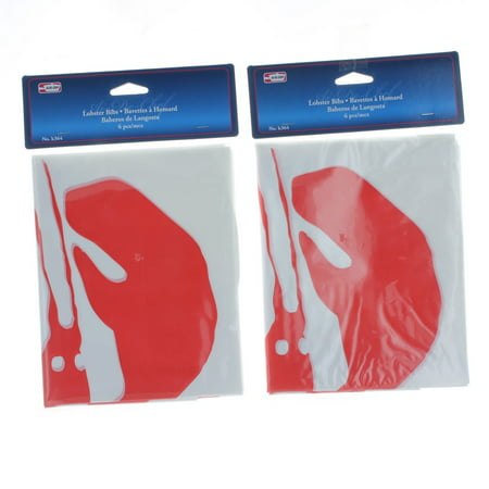 Lot of 12 Disposable Lobster Plastic Bibs Seafood Poly Bib (Lobster Bib)