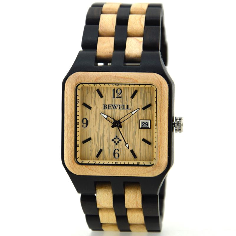 Bewell Square Wood Watch For Men With Arrow Second Hand