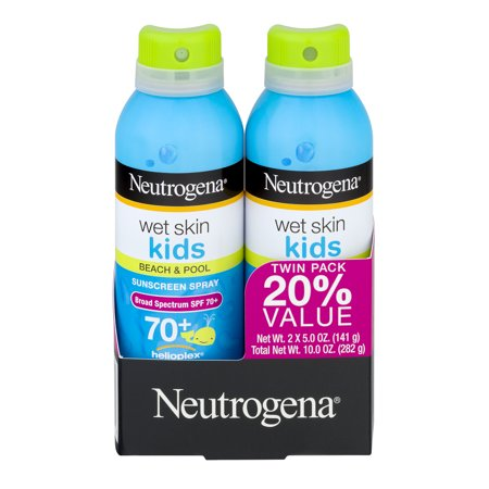Neutrogena Wet Skin Kids Beach & Pool Sunscreen Spray SPF 70+, 5 Oz, 2 Pk