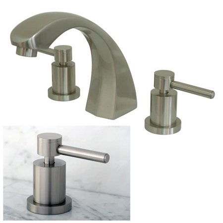 Kingston Brass Three-Hole Satin-Nickel Roman Tub Filler Faucet