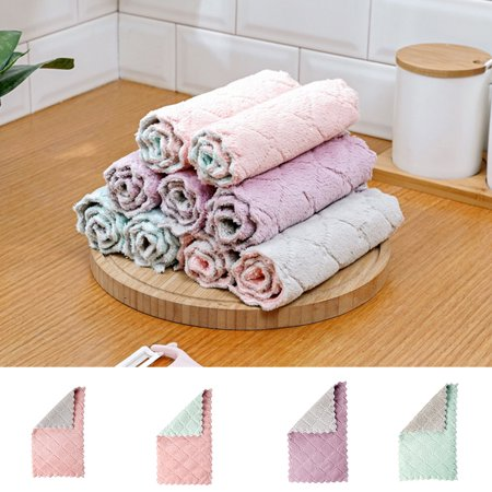 Electronicheart Double Colors Rag Dish Cloth Water Absorption Thickening Pot Washing Towel Table Home Kitchen Dishcloth - image 3 de 8