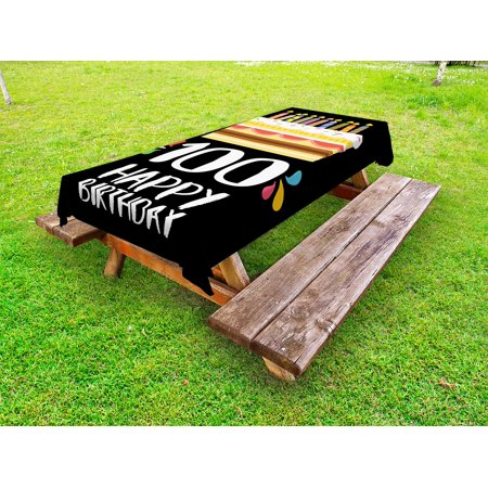 100th Birthday Outdoor Tablecloth Old Legacy 100 Party Cake Candles On Black Major Milestone