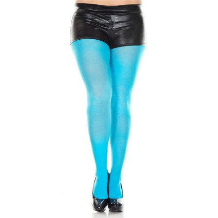 Music Legs 747Q-TURQUOISE Plus Size Opaque Tights, Turquoise - Skeleton Leg Tights