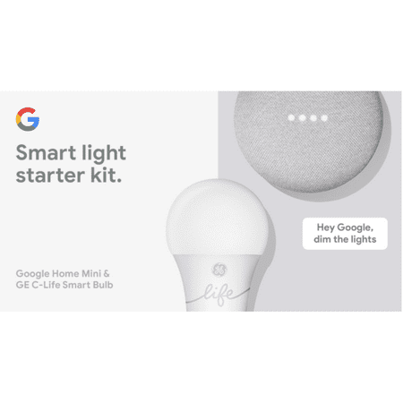 Google Smart Light Starter Kit - Google Home Mini and GE C-Life Smart Light (Sharper Image Bluetooth Smart Bulb Si 05)