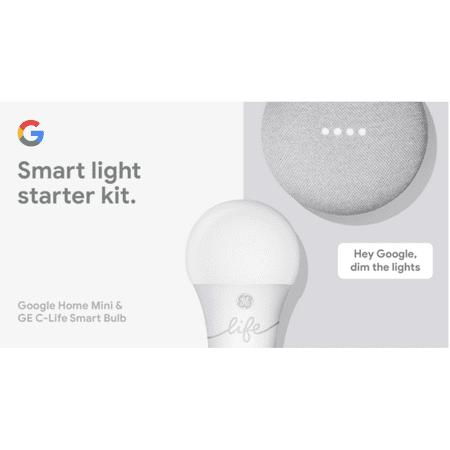 Google Smart Light Starter Kit - Google Home Mini and GE C-Life Smart Light Bulb