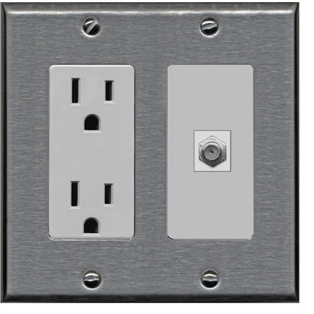 RiteAV - 15 Amp Power Outlet and 1 Port Coax Cable TV- F-Type Decora Type Wall Plate - Stainless Steel & -