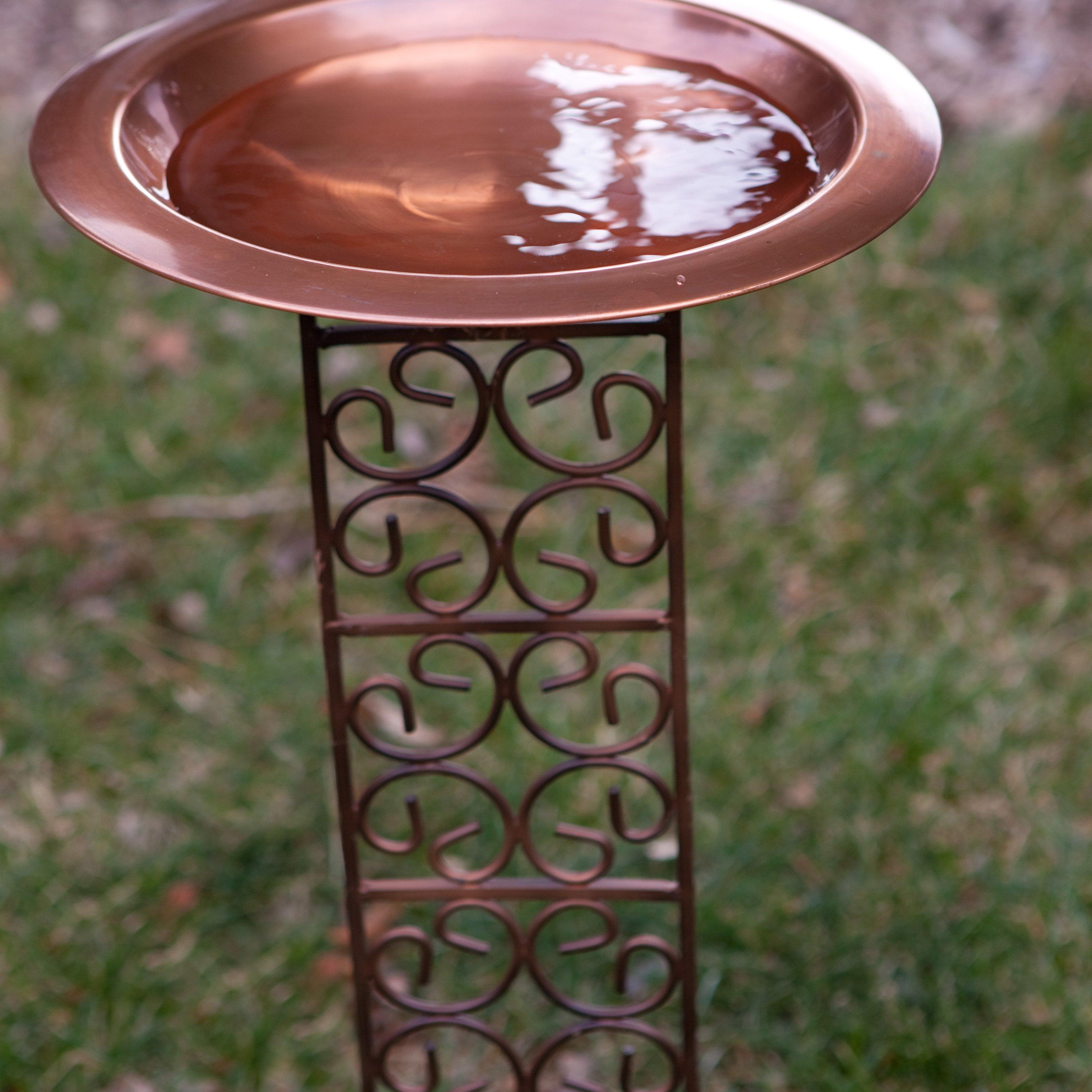 Classic Copper Bird Bath Bowl with Jalousie Stake