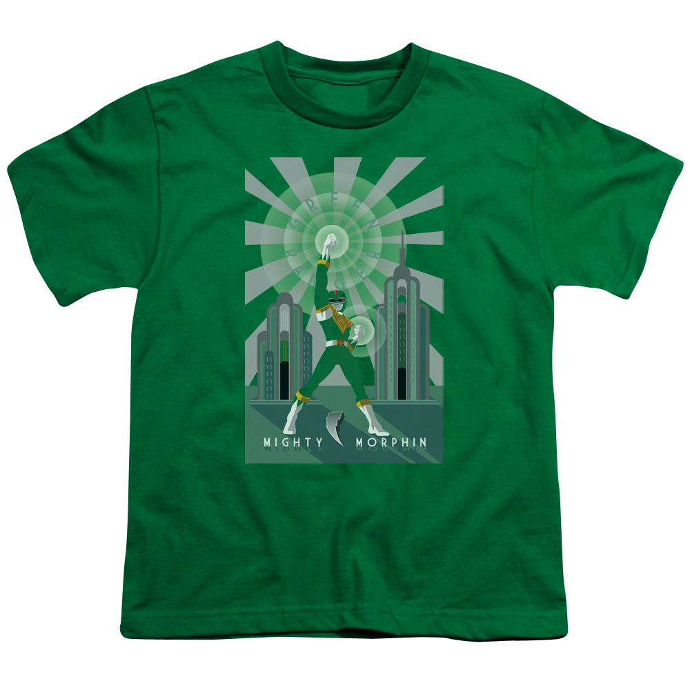 Trevco POWER RANGERS GREEN RANGER DECO Kelly Green Child Unisex T-Shirt