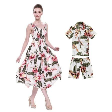 cdd2276896c2 Matching Mother Son Hawaiian Luau Outfit Maxi Tank Dress Shirt in Rafelsia  Cream Women One size Boy 8