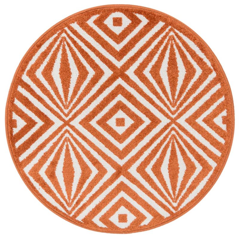 Marvelous Loloi Terrace 3u0027 Round Power Loomed Rug In Ivory And Orange