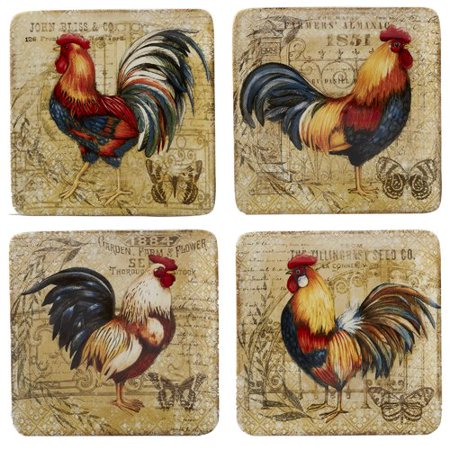 August Grove Frisby Gilded Rooster 4 Piece Salad Plate Set