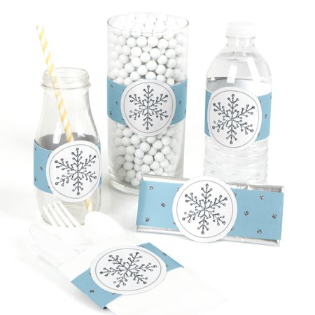 Winter Wonderland - Snowflake Holiday Party & Winter Wedding DIY Wrapper Favors & Decorations - Set of 15