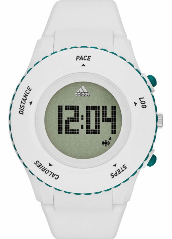 Unisex Adidas Performance Sprung White Silicone Digital Runner Watch ADP3221 by Adidas