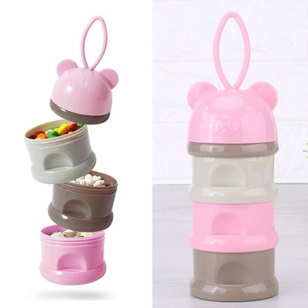 Hilitand 3 Layers Milk Powder Dispenser Portable Infant Baby Milk Powder Formula Dispenser Storage Box Feeding