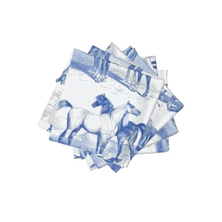 Cocktail Napkins Equestrian Toile Blue Delft Vintage Inspired Horse Set of 4