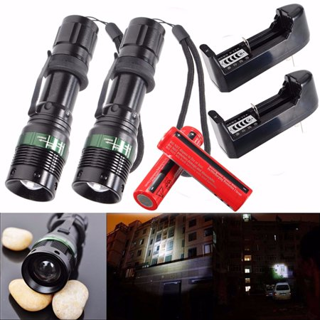 2-Pack 2000 Lumens T6 LED Zoom Adjustable Focus Flashlight Torch Tactical Light Super Bright 3 Modes + AC Charge + 18650 Batter For Camping Fishing - image 8 de 8