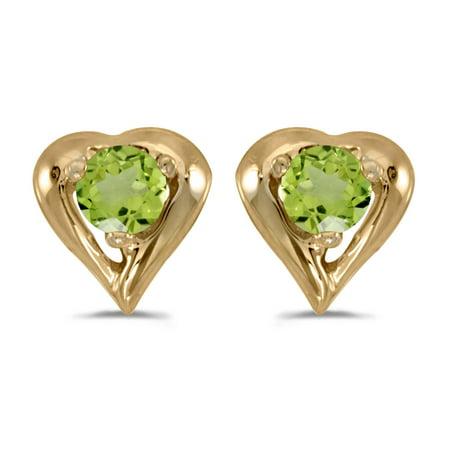 14k Yellow Gold Round Peridot Heart Earrings
