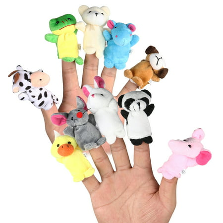 Clearance : LEORX 10pcs Cartoon Animal Finger Puppets Soft Velvet Dolls Props Toys (Random Pattern)