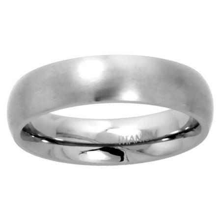 - Titanium Plain Wedding Band / Thumb Ring 5mm Domed Comfort-Fit Matte Finish, sizes 5 - 12