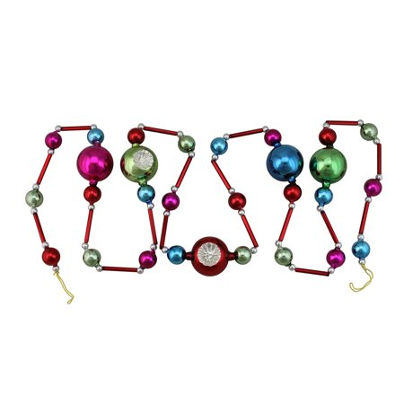 Northlight 6.75' Unlit Glass Bead and Retro Reflector Ornament Christmas Garland