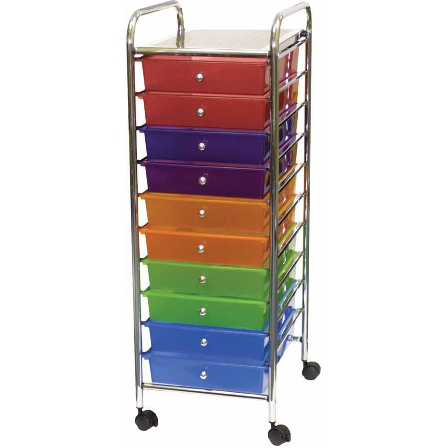 "10 Drawer Rolling Cart, 13"" x 15.25"" x 37.5"", Multicolored"