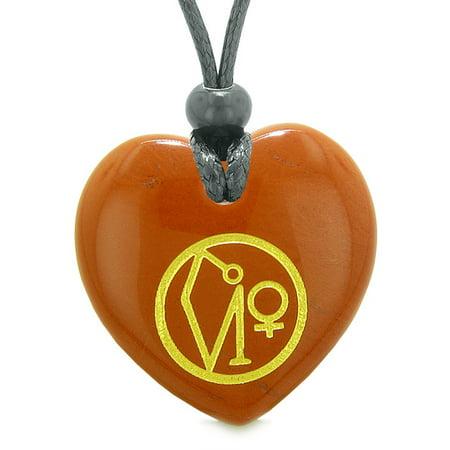 Red Jasper Heart Necklace - Archangel Uriel Sigil Magic Amulet Planet Energy Puffy Heart Red Jasper Pendant Adjustable Necklace