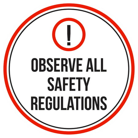 Regulation Pool - Observe All Safety Regulations Swimming Pool Spa Warning Round Sign - 9 Inch