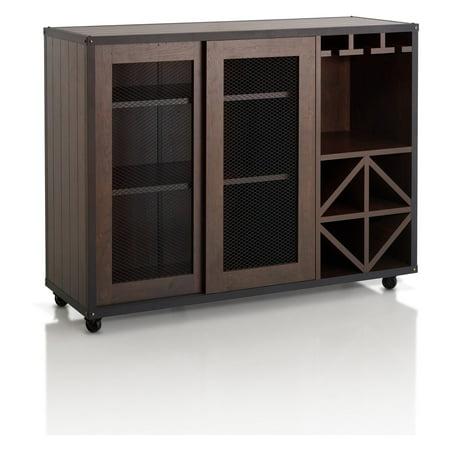 (Furniture of America Helibra Walnut Contemporary 2-Sliding Door Buffet)