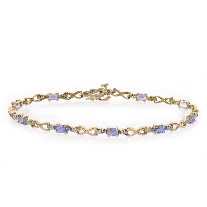 0.10 Carat Diamond and 2.00 Carat Tanzanite 14K Yellow Gold Link Bracelet by