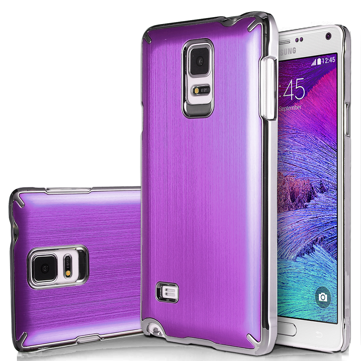 Note 4 Case, Galaxy Note 4 Case, ULAK Samsung Galaxy Note 4 Case Brushed Chrome Luxury Steel Aluminum Plastic Cover Hard Back Protective Case for Galaxy Note 4 (2014)