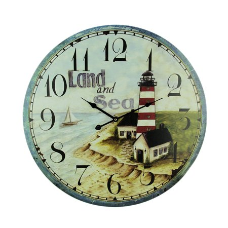 Land and Sea Coastal Lighthouse Wall Clock 23 inch