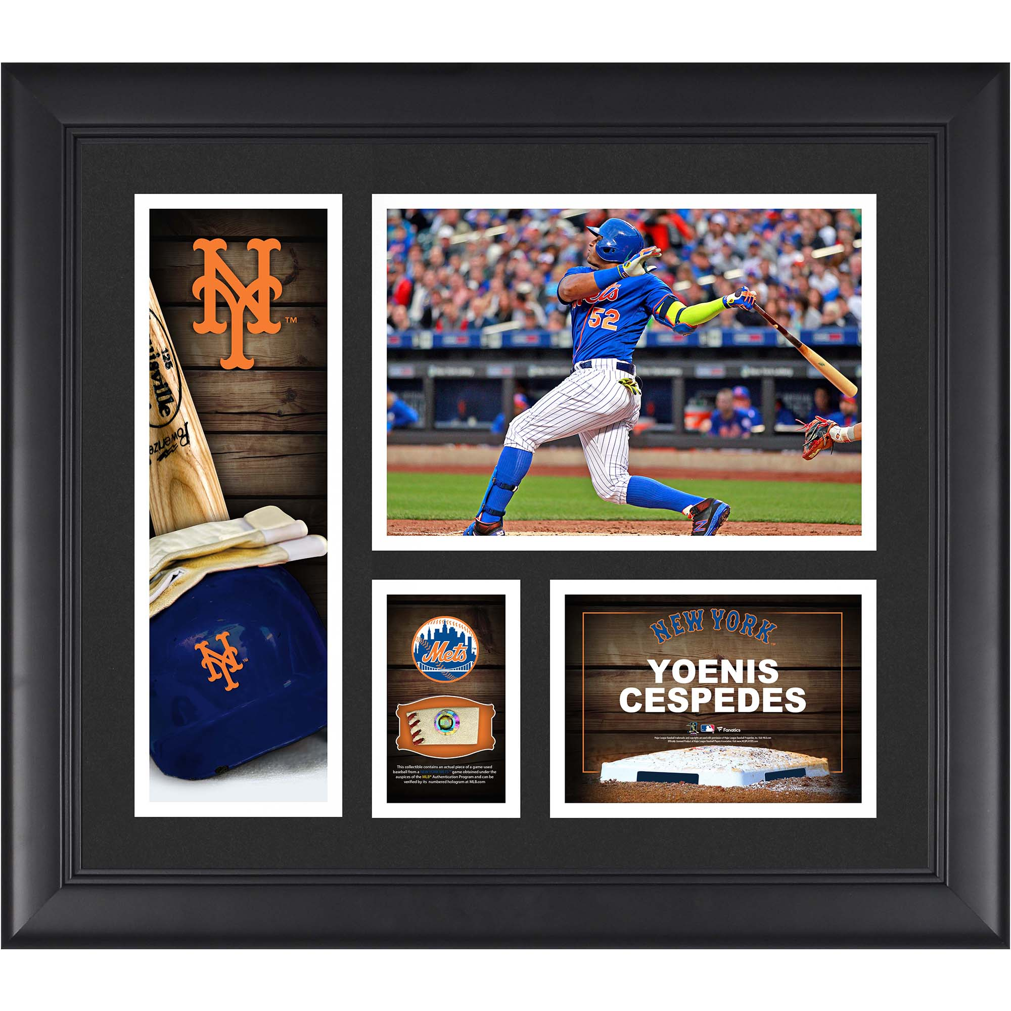 """Yoenis Cespedes New York Mets Fanatics Authentic Framed 15"""" x 17"""" Player Collage with a Piece of Game-Used Ball - No Size"""