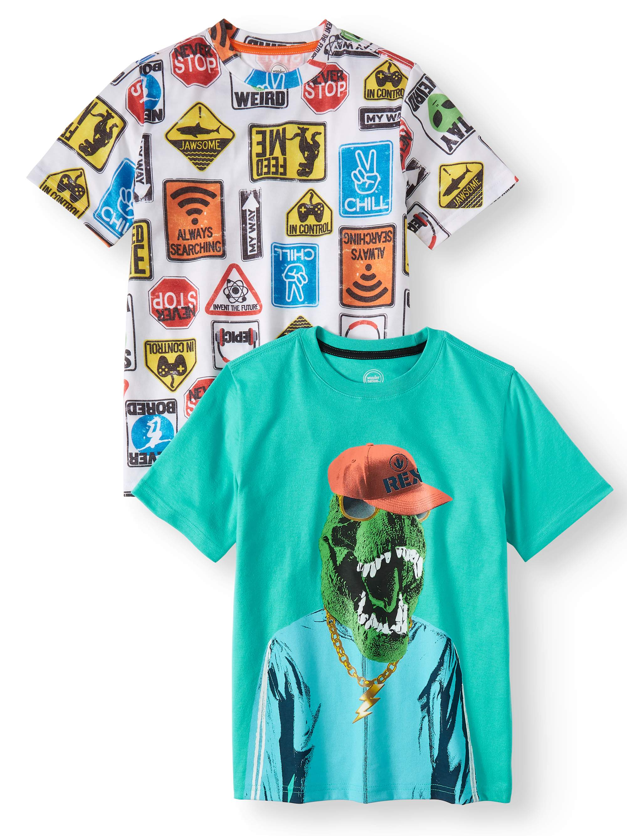 Short Sleeve Graphic Tee, 2-Pack Set (Little Boys, Big Boys, & Husky)