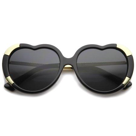 sunglassLA - Womens Fashion Oversize Metal Detail Heart Shaped Sunglasses - (Sunglasses For Heart Shaped Face Men)