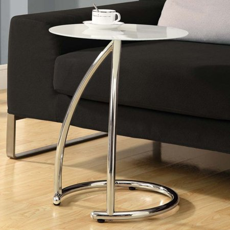 Tempered Frosted Glass Table (Metal Accent Table with Frosted Tempered Glass, Chrome )