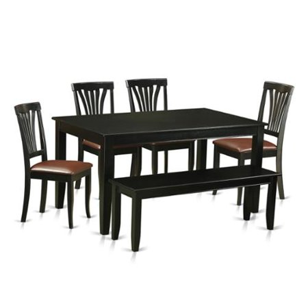 East West Furniture Duav6 Blk Black Rubberwood 6 Piece Kitchen Nook Dining Set Including Dinette