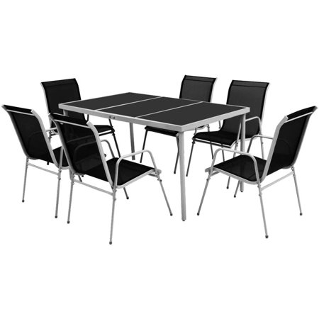Black 7 Piece Patio (Outdoor Dining Set 7 Pieces Black)