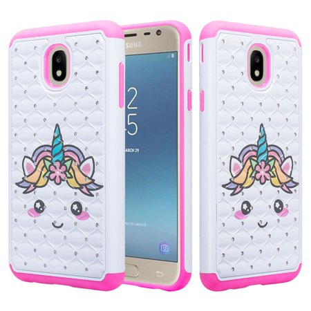 - Samsung Galaxy J7 2018, J7 V 2nd Gen, J7 Star, J7 Refine, J7 Aura, J7 Top, J7 Crown Case, Slim Crystal Rhinestone Dual Layer Protective Cover - White Unicorn