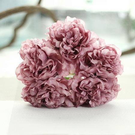 Artificial Silk Fake Flowers Peony Floral Wedding Bouquet Bridal Hydrangea E