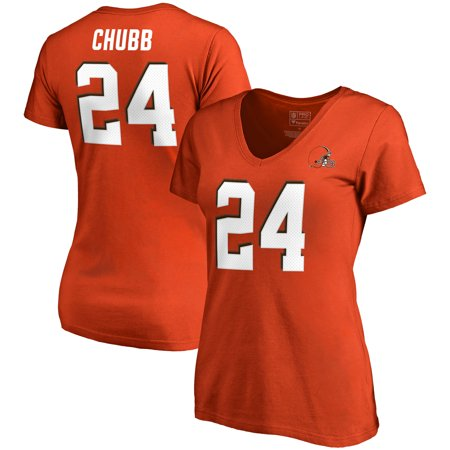 Nick Chubb Cleveland Browns NFL Pro Line by Fanatics Branded Women's Authentic Stack Name & Number V-Neck T-Shirt - Orange - Cleveland Browns Bandana