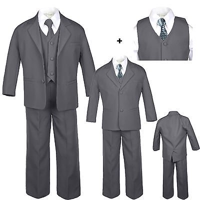 Baby Toddler Boy Dark Gray Wedding Formal Party Tuxedo Suits Checkered Tie (Checkered Suit)