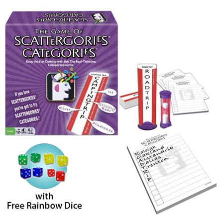 Scattergories Categories Board Game w/ Free Rainbow Dice Pack (Free Games For Girls)