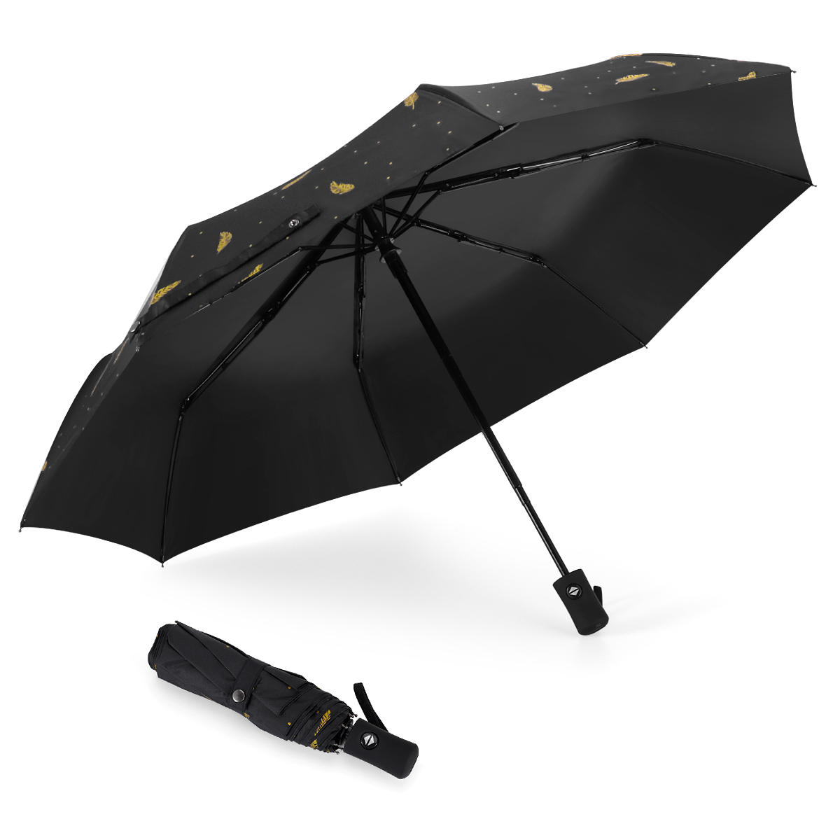 Retro Space Starry Background Compact Travel Umbrella Windproof Reinforced Canopy 8 Ribs Umbrella Auto Open And Close Button Personalized