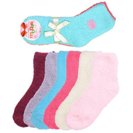 6 Pair of Women Fuzzy Soft Slipper Socks Plush Warm and Cozy Solid or Striped Colors