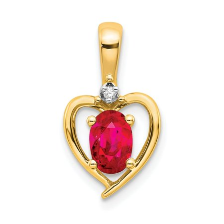 Roy Rose Jewelry 14K Yellow Gold Diamond & 0.56-Carat Oval Ruby Pendant 14k Yellow Gold Rose