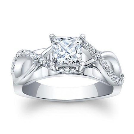 f1956b1d5fc81d Harry Chad Enterprises - Harry Chad Enterprises HC10478-6 2 CT 14K White  Gold Solitaire Princess Cut Diamond Engagement Ring with Accents -  Walmart.com